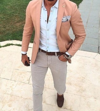 Dark Brown Bracelet Outfits For Men: To don a laid-back ensemble with an edgy finish, make a pink blazer and a dark brown bracelet your outfit choice. Balance your getup with a more polished kind of shoes, like this pair of dark brown suede loafers.