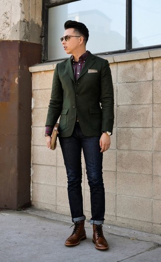 How to Wear Brown Leather Brogue Boots: For a casually neat menswear style, marry a dark green blazer with navy jeans — these two pieces go pretty good together. On the fence about how to round off this outfit? Finish off with brown leather brogue boots to dial it up a notch.