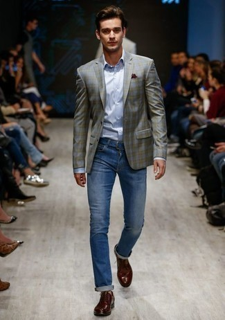 Grey Blazer with Blue Jeans Outfits For Men: If you gravitate towards laid-back combinations, why not try this combination of a grey blazer and blue jeans? Finishing with a pair of burgundy leather derby shoes is an easy way to give an element of elegance to this ensemble.