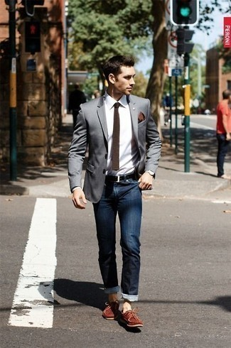 Grey Blazer with Boat Shoes Outfits (15