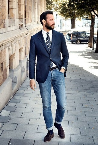 How to Wear Navy Socks For Men: For an outfit that's extremely easy but can be modified in a multitude of different ways, try pairing a navy blazer with navy socks. Introduce a pair of dark brown suede loafers to the mix for an instant dressy look.