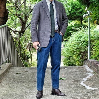 Grey Blazer with Blue Jeans Outfits For Men: For laid-back sophistication with a masculine finish, reach for a grey blazer and blue jeans. For a sleeker feel, why not complete this outfit with a pair of dark brown leather derby shoes?