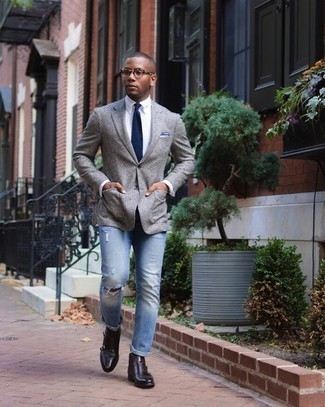Grey Wool Blazer Outfits For Men: Flaunt your skills in men's fashion by pairing a grey wool blazer and blue ripped jeans for an off-duty combo. You know how to level up this outfit: dark brown leather chelsea boots.