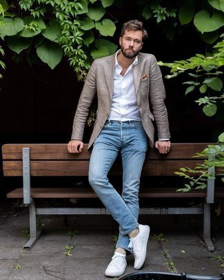 Men's Tan Plaid Blazer, White Dress Shirt, Light Blue Jeans, White Leather Low Top Sneakers