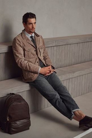 Charcoal Jeans Summer Outfits For Men: This smart casual combo of a brown suede blazer and charcoal jeans is super easy to put together without a second thought, helping you look stylish and ready for anything without spending too much time combing through your closet. Add a classier twist to this outfit by finishing off with a pair of dark brown leather double monks. Naturally, you're looking at a smart pick for a baking hot afternoon.
