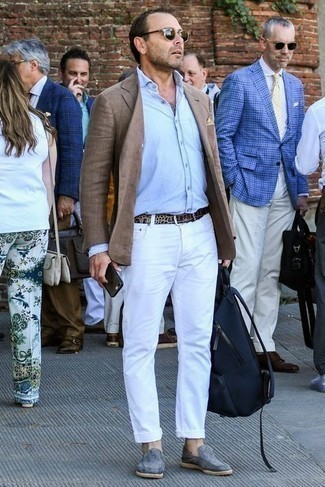 Jacket Outfits For Men: Infuse a classy touch into your daily collection with a jacket and white jeans. A trendy pair of grey suede loafers is the most effective way to punch up your ensemble.