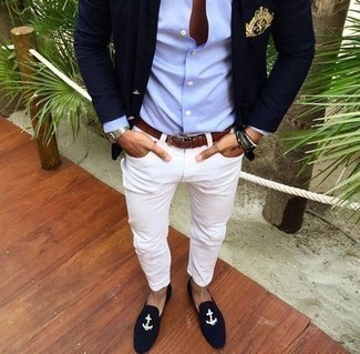 Multi colored Beaded Bracelet Outfits For Men: If you enjoy comfort dressing, marry a navy embroidered blazer with a multi colored beaded bracelet. To bring a little flair to your getup, complement your ensemble with navy embroidered velvet loafers.