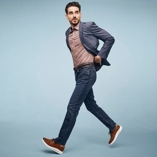 Athletic Shoes Outfits For Men: Rock a navy blazer with navy jeans if you're aiming for a proper, dapper ensemble. Athletic shoes are guaranteed to add a touch of stylish effortlessness to your ensemble.