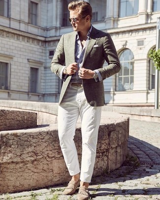 Silver Bracelet Outfits For Men: An olive blazer and a silver bracelet are great menswear staples that will integrate nicely within your day-to-day repertoire. A pair of tan suede monks will put an elegant spin on an otherwise utilitarian ensemble.