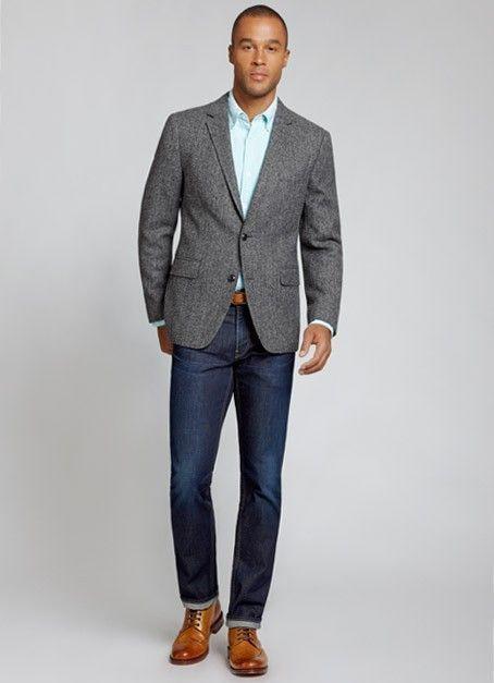 Mens fashion dress shirt and jeans
