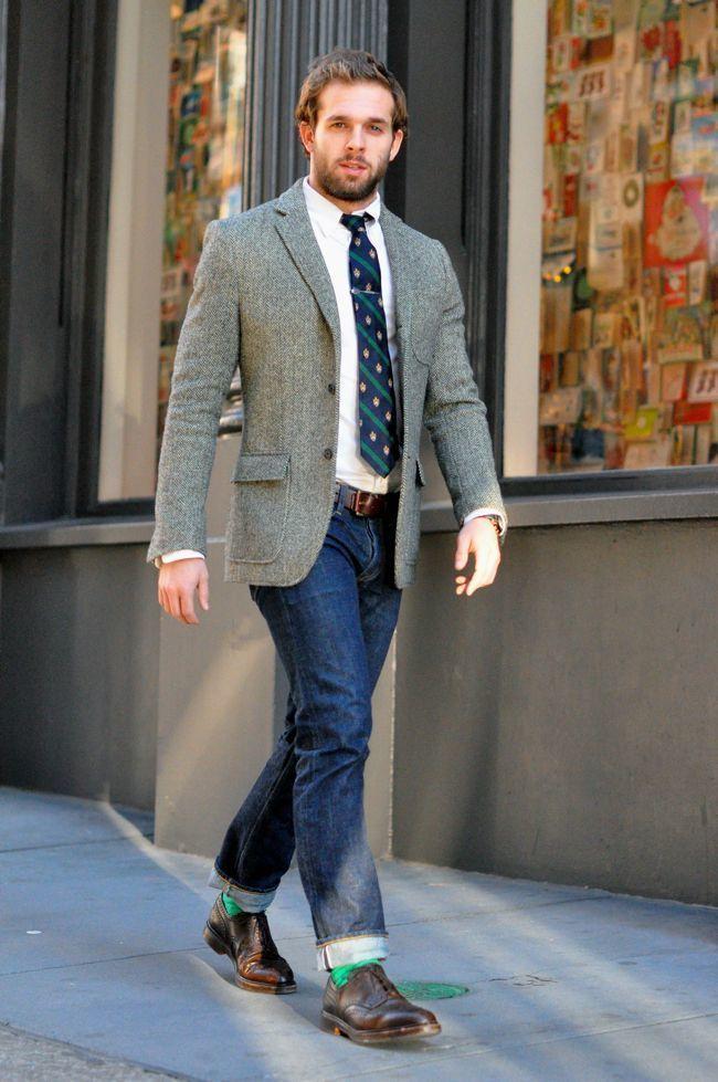 60383eb15 Men's Grey Wool Blazer, White Dress Shirt, Navy Jeans, Brown Leather ...