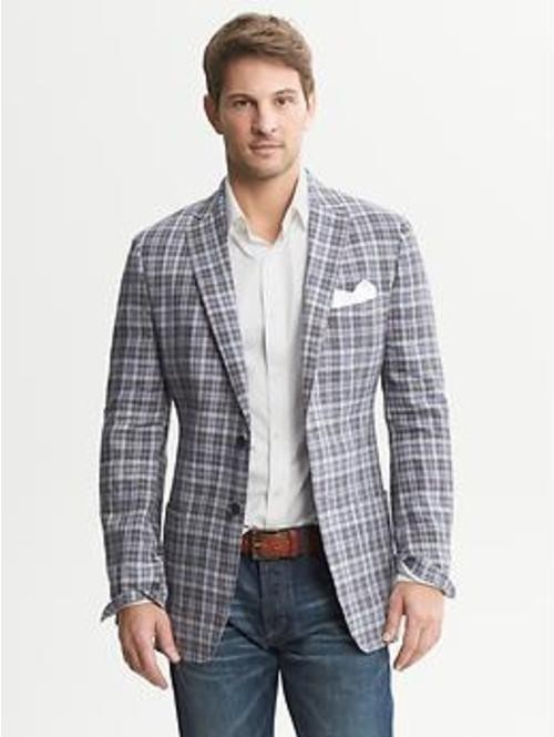 Men's Grey Plaid Blazer, White Dress Shirt, Navy Jeans, White ...