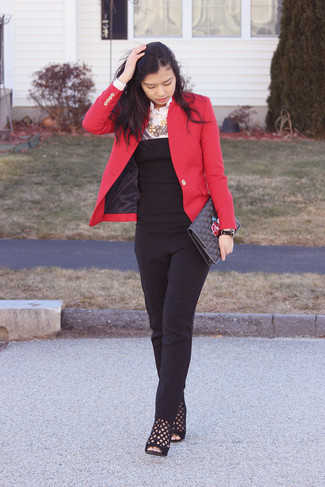 Consider pairing a red jacket with a jumpsuit for a comfortable outfit that's also put together nicely. Black cutout suede booties will add elegance to an otherwise simple look.