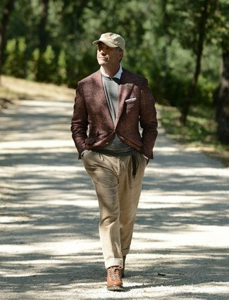 Brown Leather Casual Boots Outfits For Men: This is indisputable proof that a brown check wool blazer and khaki corduroy dress pants look amazing when paired together in a sophisticated look for today's gent. If you need to instantly tone down your look with a pair of shoes, complete this look with brown leather casual boots.