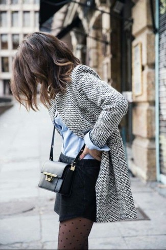 Consider wearing a grey wool blazer and a skirt and you'll look like a total babe.