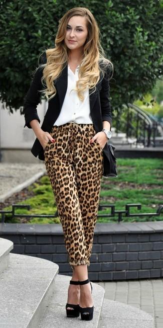 How to wear: black blazer, white dress shirt, tan leopard pajama pants, black chunky suede heeled sandals
