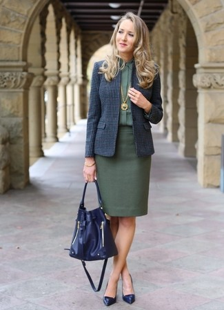 How to wear: navy check wool blazer, dark green dress shirt, dark green pencil skirt, navy leather pumps