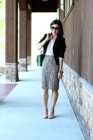 How to wear: black blazer, white polka dot silk dress shirt, white and black leopard pencil skirt, beige leather pumps