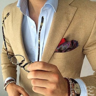 How to wear: tan blazer, light blue dress shirt, burgundy paisley pocket square, black leather watch