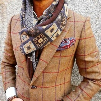 How to wear: tan check wool blazer, white dress shirt, red print pocket square, multi colored print scarf