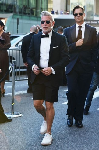 Nick Wooster wearing Black Blazer, White Dress Shirt, Black Shorts, White Leather Derby Shoes