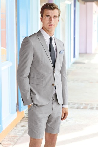 Marry a grey seersucker blazer with seersucker shorts for a work-approved look. This one will play especially nice come summertime.
