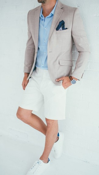How to wear: beige check blazer, light blue dress shirt, white shorts, white leather low top sneakers