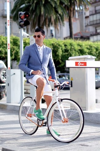 How to wear: blue blazer, white print dress shirt, white shorts, green suede low top sneakers