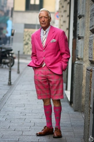 How to wear: hot pink blazer, white and black vertical striped dress shirt, hot pink shorts, brown leather derby shoes