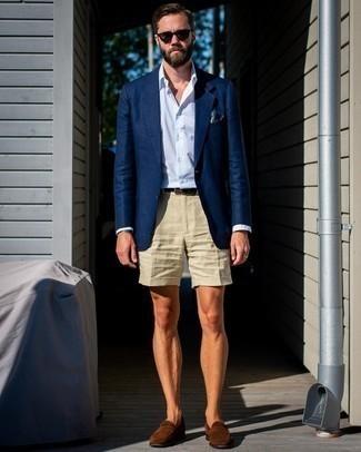 Men's Navy Blazer, Light Blue Vertical Striped Dress Shirt, Beige Shorts, Brown Suede Loafers