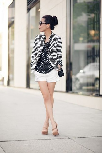 How to wear: white and black horizontal striped blazer, black and white polka dot chiffon dress shirt, white shorts, beige leather pumps