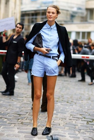 Women's Black Blazer, Light Blue Dress Shirt, Light Blue Shorts ...