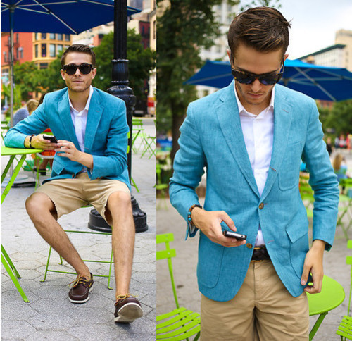 Something As Simple Teaming An Aqua Blazer With Khaki Shorts Can Potentially Set You Apart