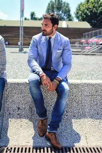 How to wear: blue linen blazer, white vertical striped dress shirt, blue ripped skinny jeans, brown leather oxford shoes