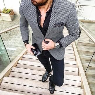 G Line Houndstooth Sport Jacket Blackwhite