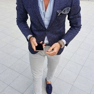 How to wear: navy wool blazer, light blue gingham dress shirt, grey skinny jeans, navy suede tassel loafers