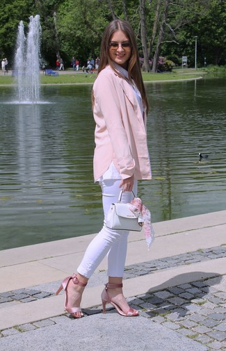 Pink Satin Heeled Sandals Outfits: If you're on the lookout for a relaxed casual and at the same time incredibly chic look, choose a pink blazer and white skinny jeans. A pair of pink satin heeled sandals immediately ups the glam factor of your look.