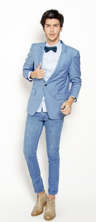 How to wear: light blue blazer, light blue dress shirt, blue skinny jeans, beige leather brogues
