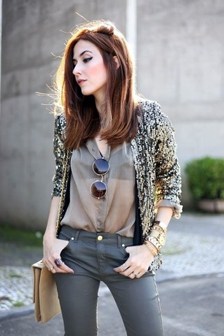 How to wear: gold sequin blazer, olive silk dress shirt, charcoal skinny jeans, tan leather crossbody bag