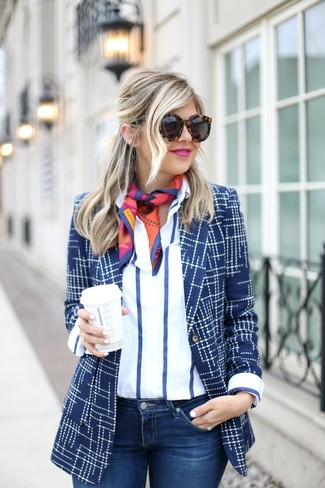 How to wear: navy print blazer, white and navy vertical striped dress shirt, navy skinny jeans, multi colored print silk scarf