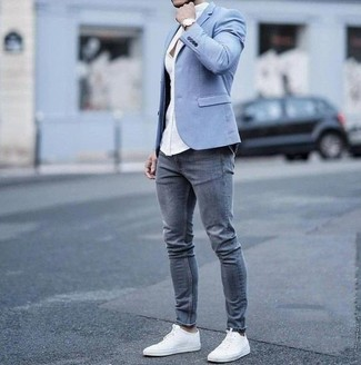 a4b68165cfdcb How to wear: light blue blazer, white dress shirt, grey skinny jeans,