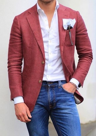 How to wear: red blazer, white dress shirt, blue skinny jeans, white pocket square