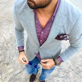 How to wear: grey wool blazer, purple dress shirt, blue skinny jeans, dark brown leather tassel loafers
