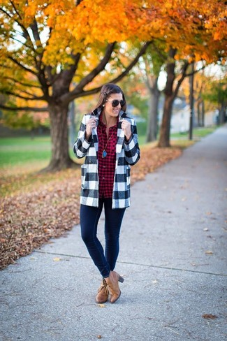 Women's Grey Gingham Wool Blazer, Burgundy Plaid Dress Shirt, Navy Skinny Jeans, Tan Leather Ankle Boots