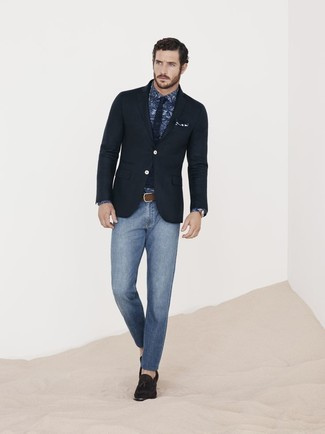 How to wear: black blazer, navy paisley dress shirt, blue skinny jeans, dark brown suede tassel loafers