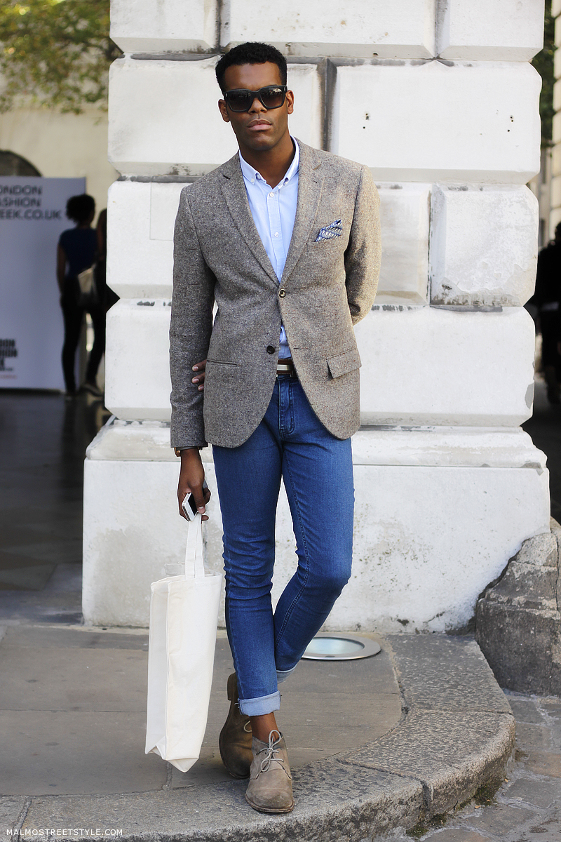 Men's Grey Blazer, Light Blue Dress Shirt, Blue Skinny Jeans, Grey ...
