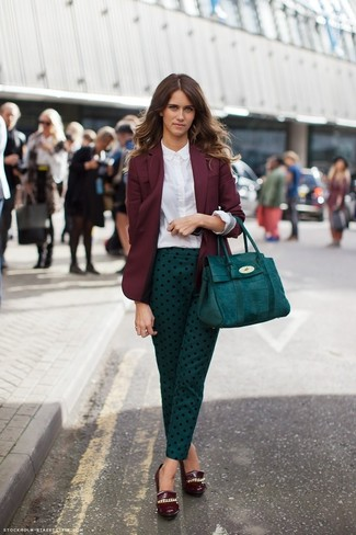 Women's Burgundy Blazer, White Dress Shirt, Teal Polka Dot Skinny Pants, Burgundy Leather Wedge Pumps
