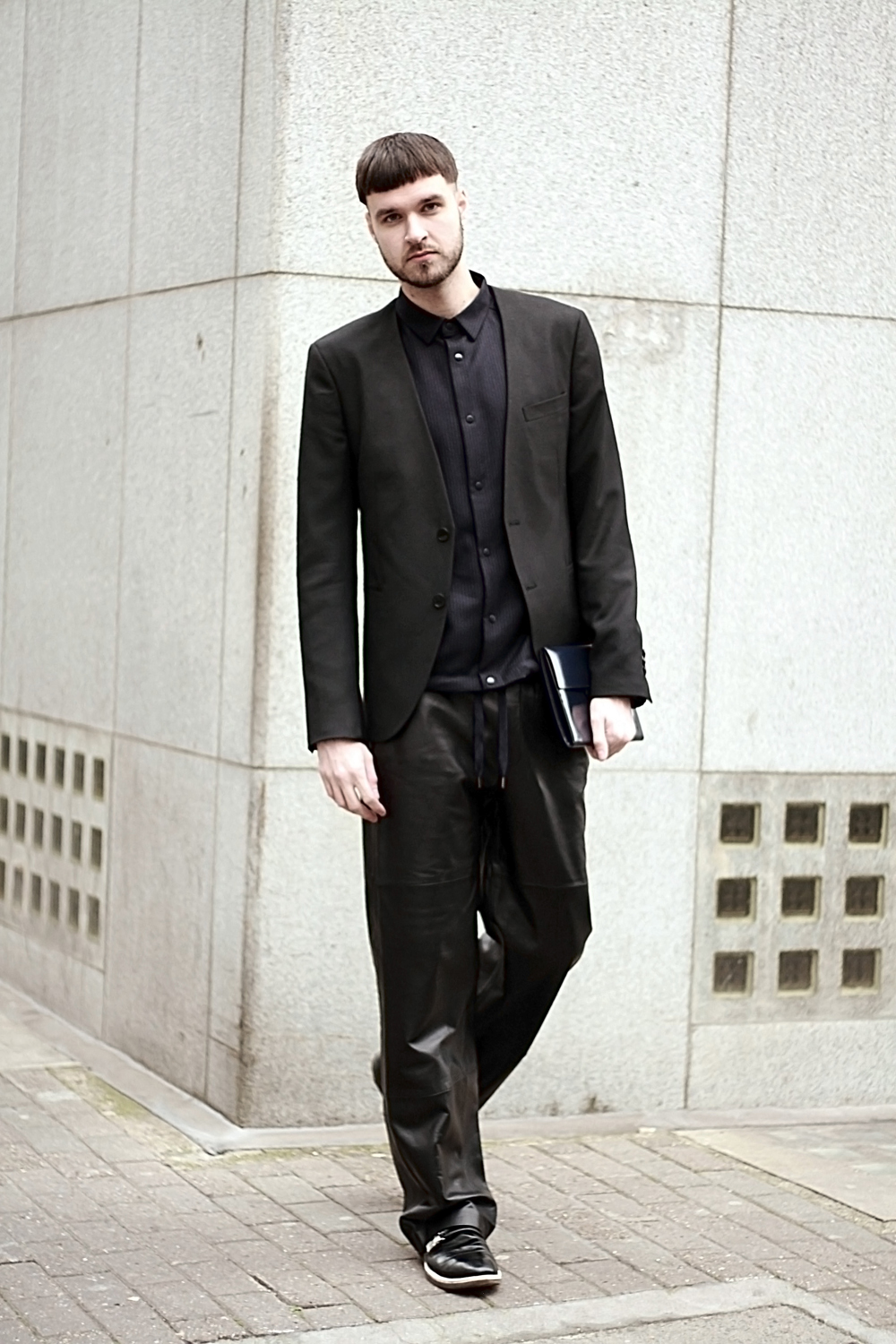 Men's Black Blazer, Black Dress Shirt, Black Leather Sweatpants ...