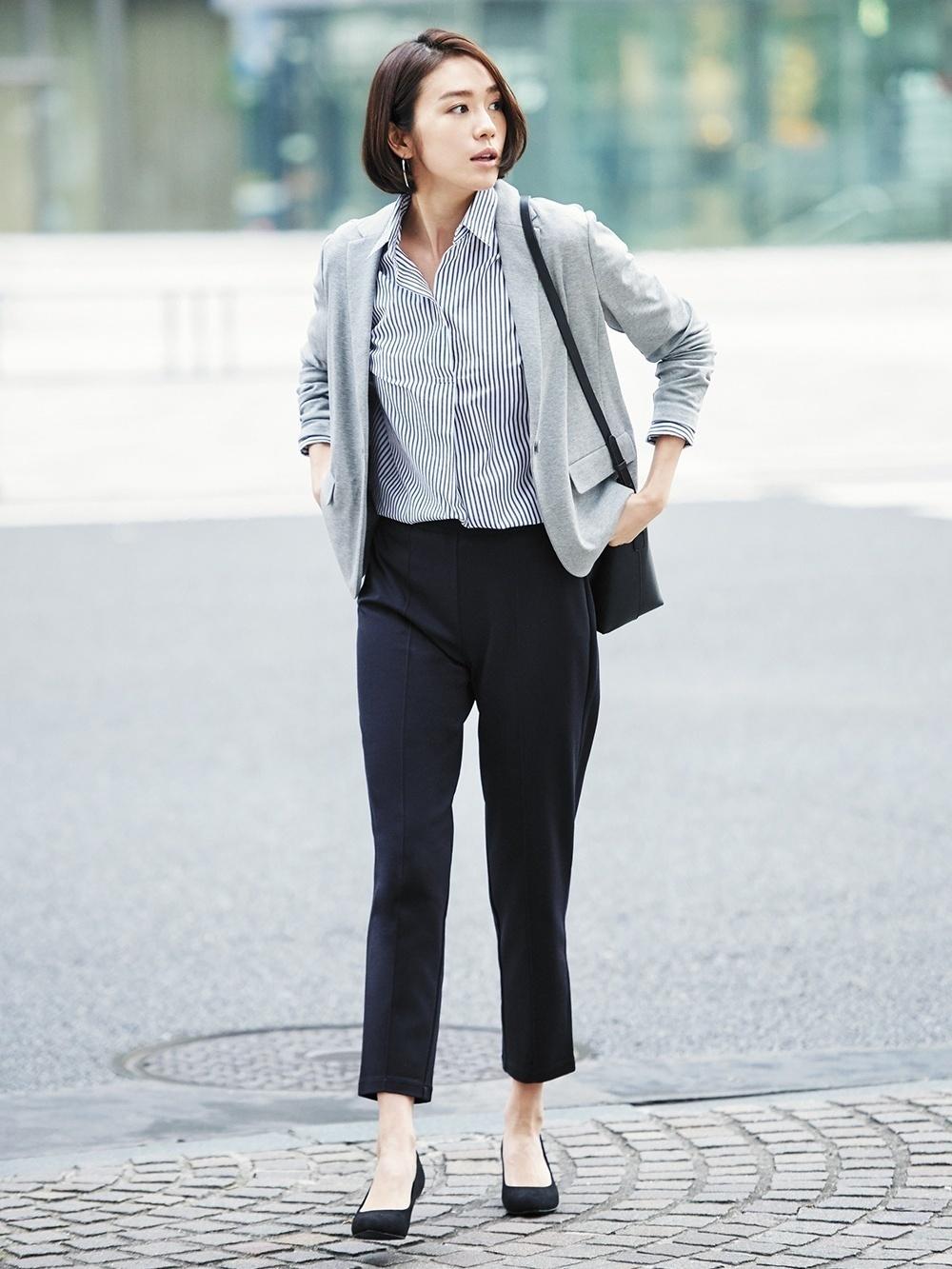 Womens Grey Knit Blazer Navy And White Vertical Striped Dress