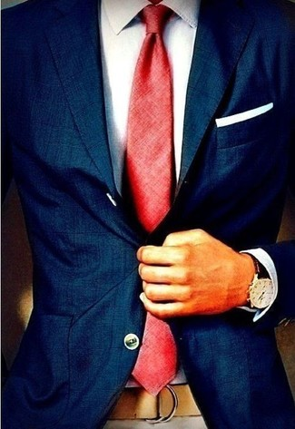 How to wear: navy blazer, white dress shirt, red tie, white pocket square